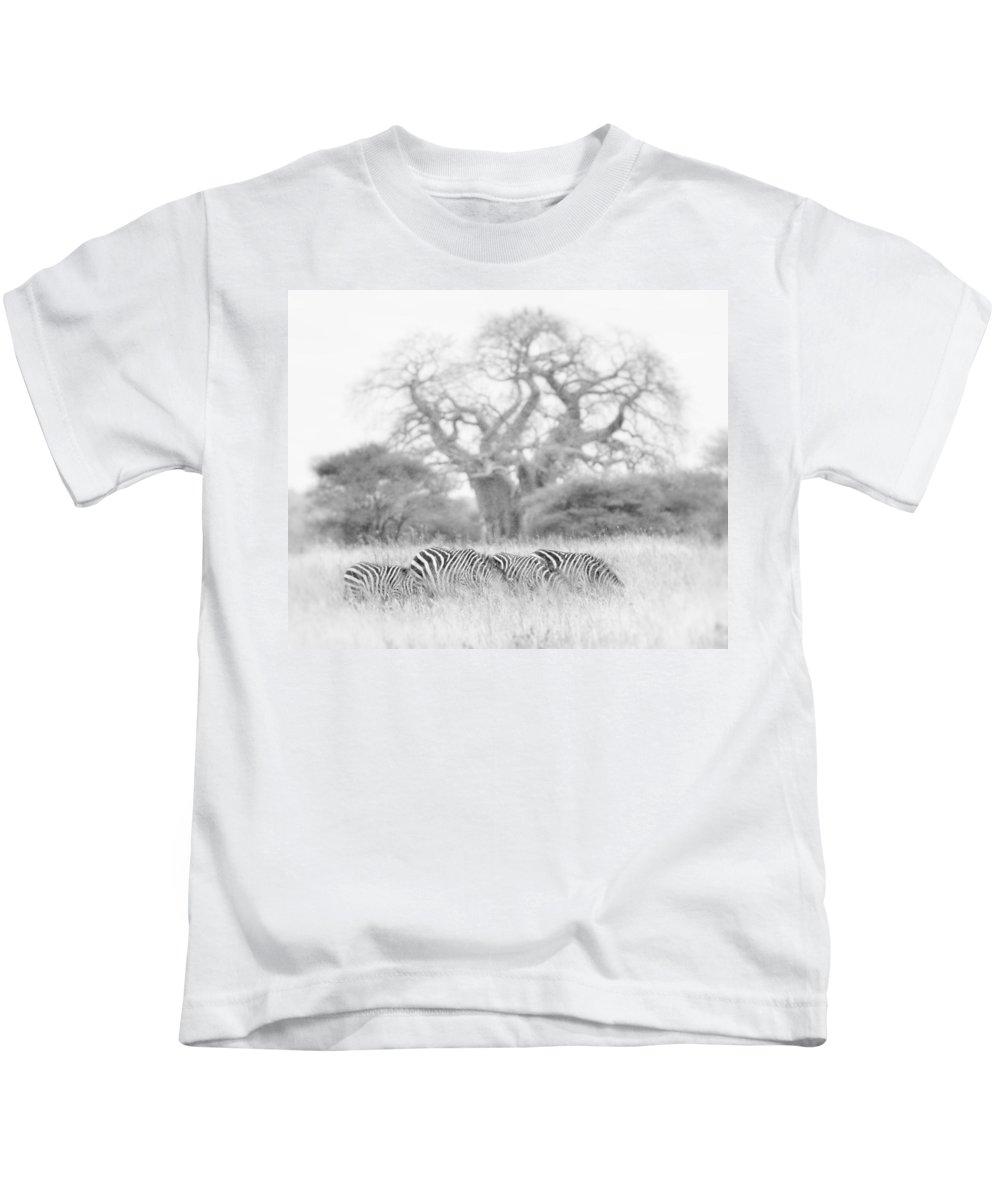 Africa Kids T-Shirt featuring the photograph Zebra And Tree by Jack Daulton