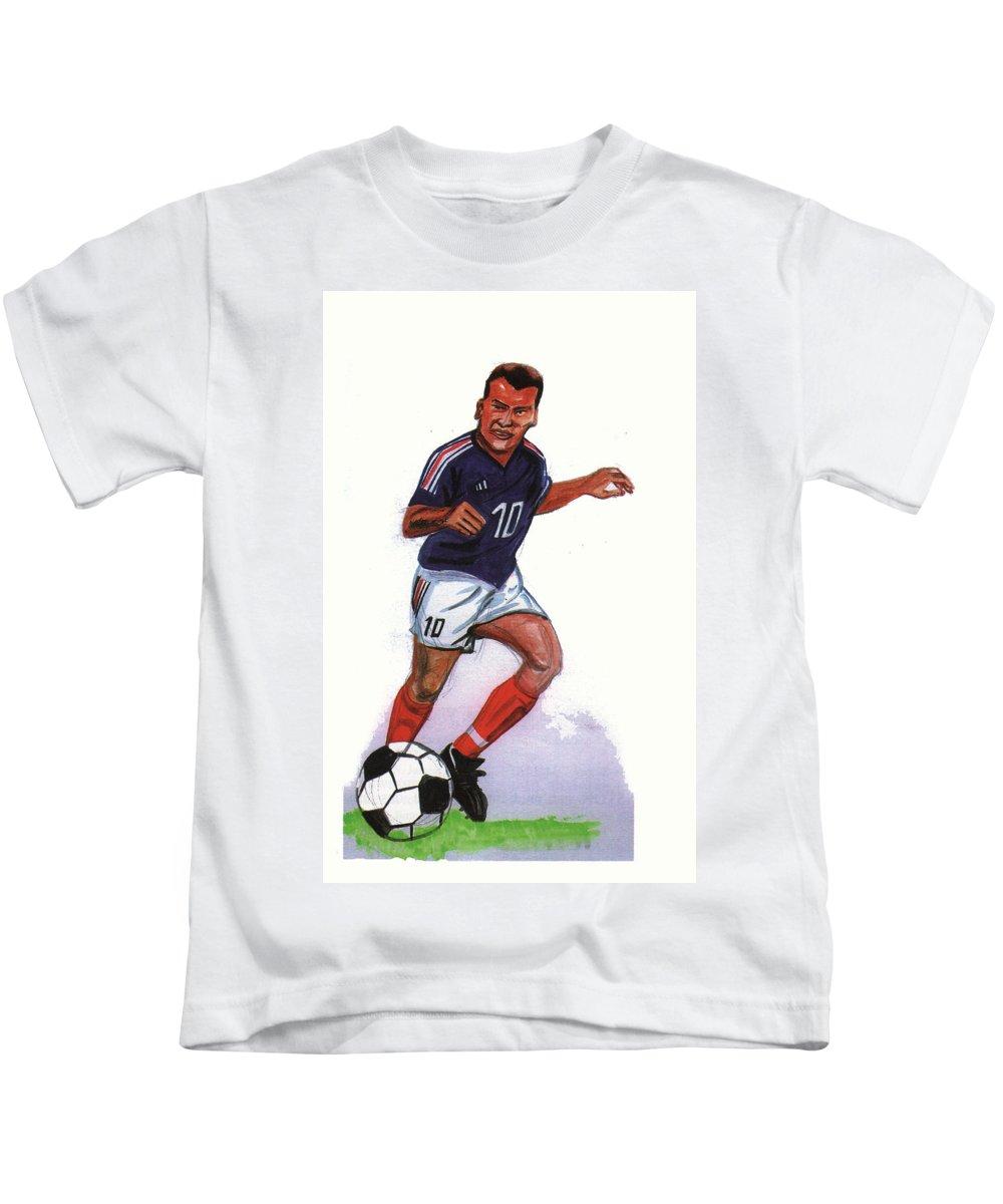Portraits Kids T-Shirt featuring the painting Zinedine Zidane 01 by Emmanuel Baliyanga
