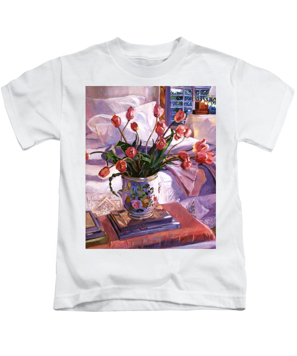 Tulips Kids T-Shirt featuring the painting Fresh Tulips by David Lloyd Glover