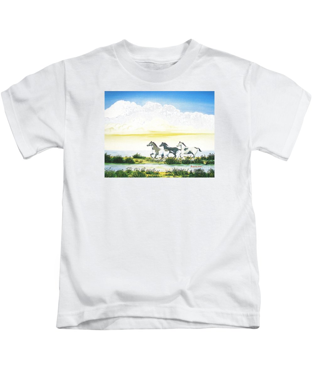 Chincoteague Kids T-Shirt featuring the painting Indian Ponies by Jerome Stumphauzer