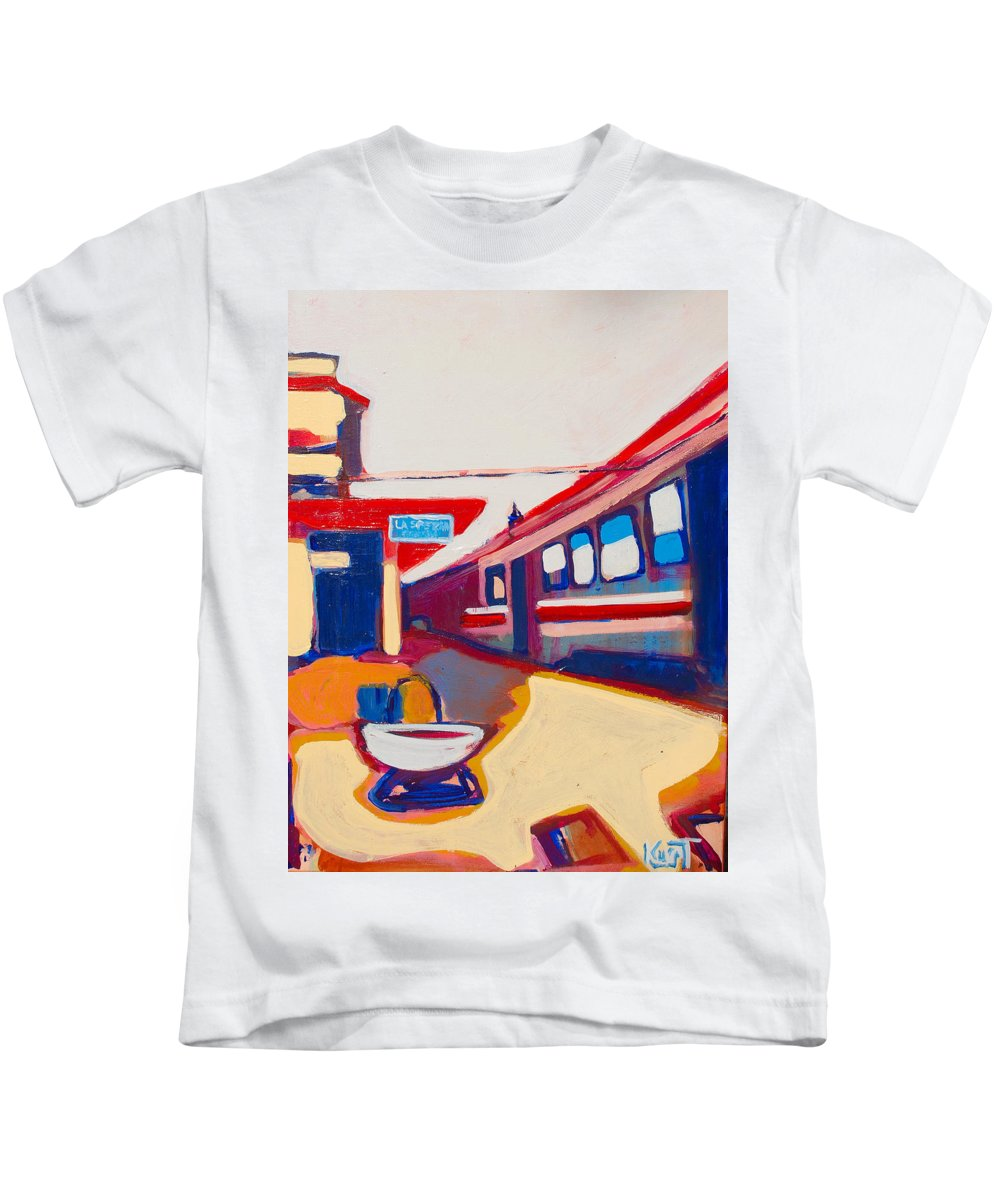 Train Station Kids T-Shirt featuring the painting Locale by Kurt Hausmann