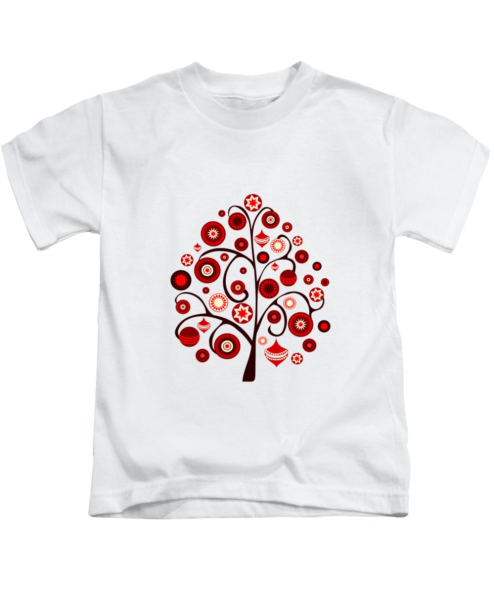 Interior Kids T-Shirt featuring the digital art Red Ornaments by Anastasiya Malakhova