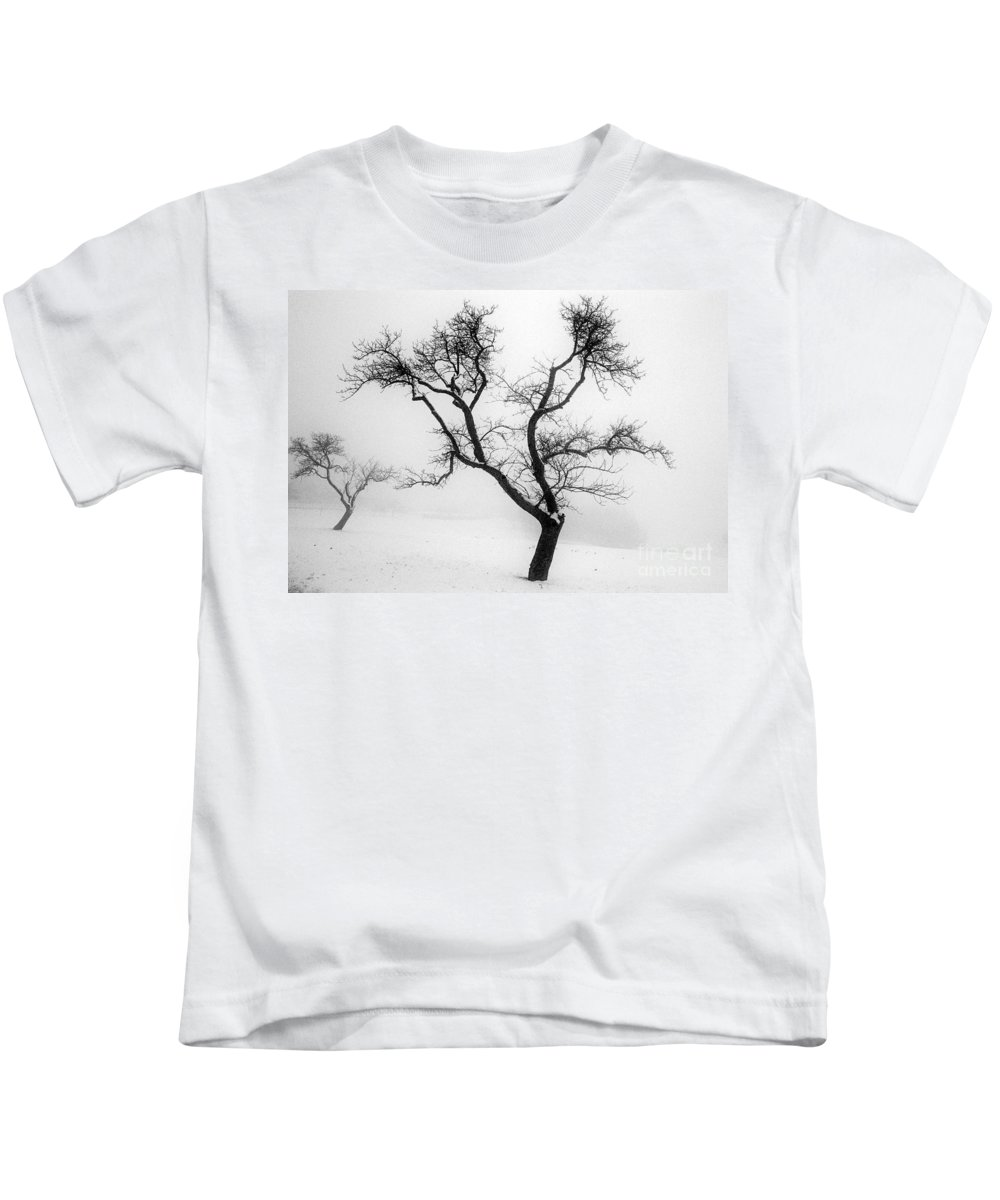 Empty Kids T-Shirt featuring the photograph Tree In The Snow by Ilan Amihai