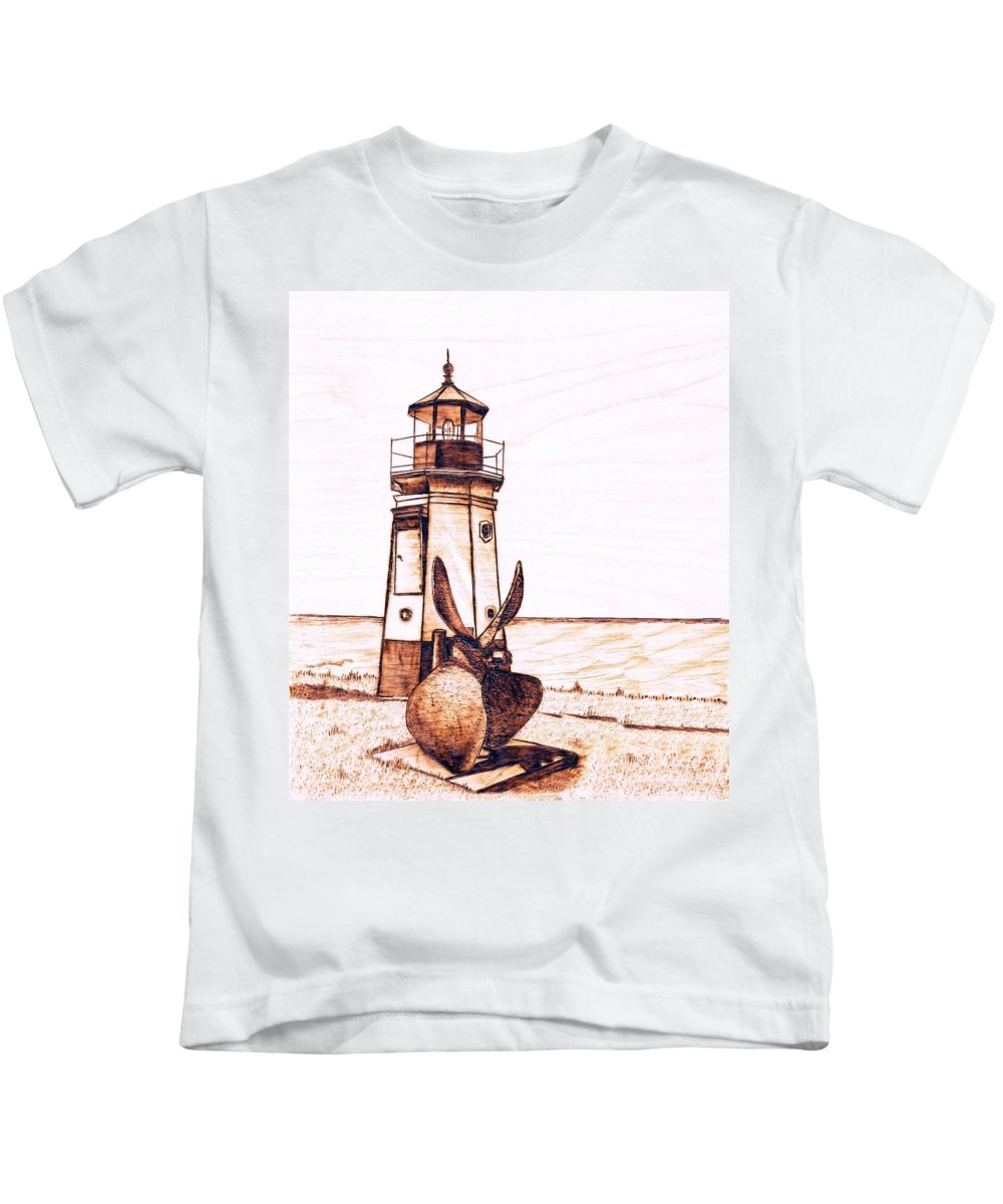 Lighthouse Kids T-Shirt featuring the pyrography Vermilion Lighthouse by Danette Smith