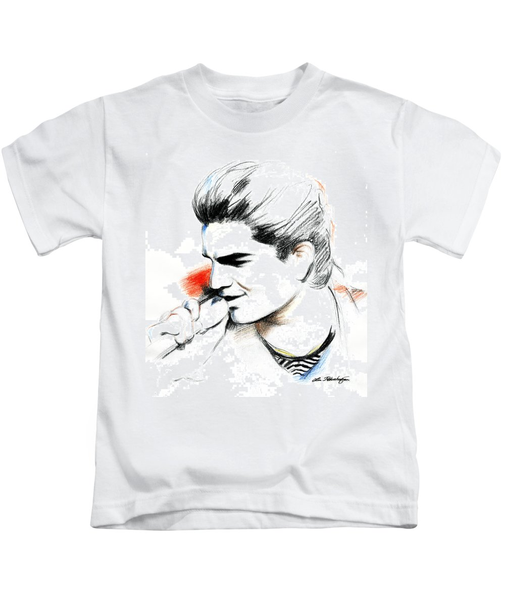 Adam Lambert Kids T-Shirt featuring the drawing Adam Lambert by Lin Petershagen