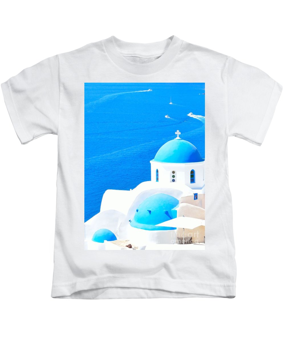 Aegean Kids T-Shirt featuring the photograph Aegean Blue by Yinguo Huang
