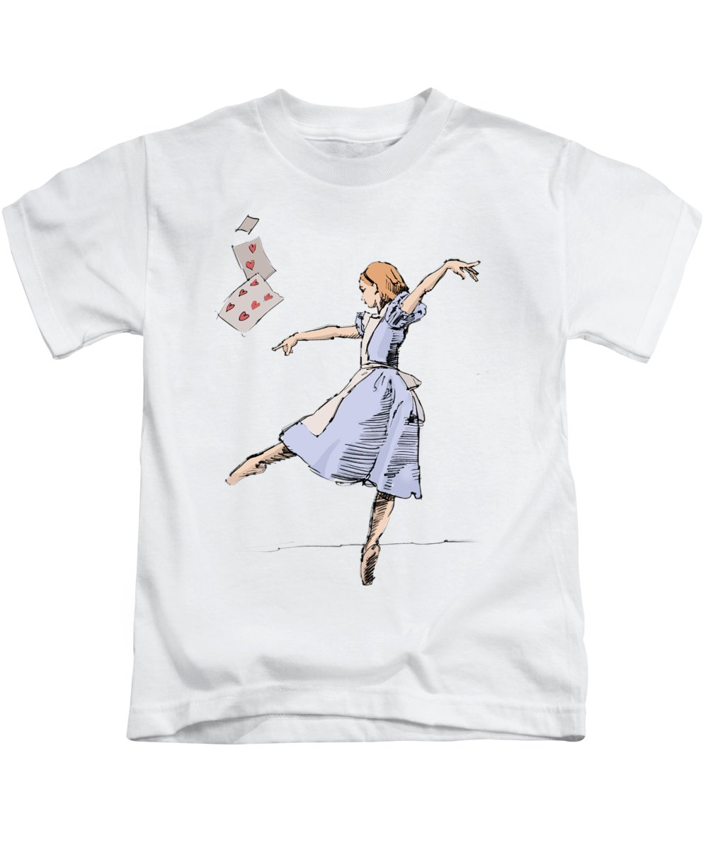 Alice Kids T-Shirt featuring the drawing Alice by H James Hoff