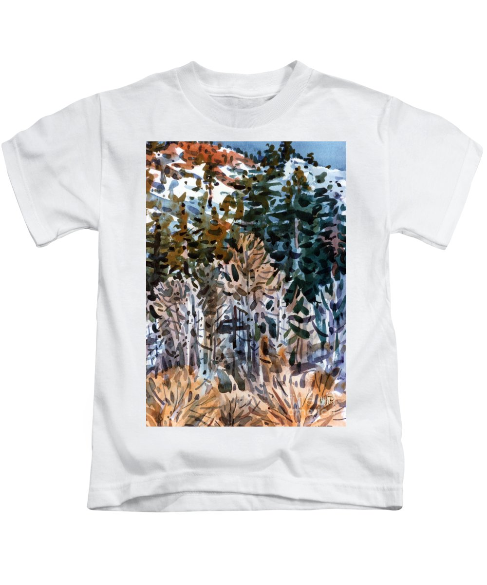 Walker River Kids T-Shirt featuring the painting Along The Walker River by Donald Maier