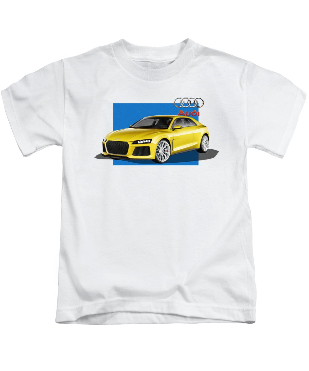 �audi� Collection By Serge Averbukh Kids T-Shirt featuring the photograph Audi Sport Quattro Concept with 3 D Badge by Serge Averbukh