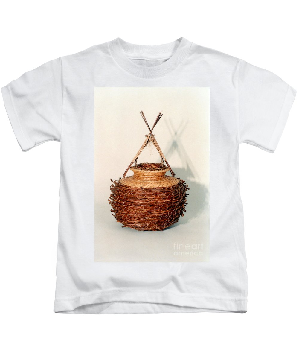 Fibre Kids T-Shirt featuring the sculpture Bound and Unified In Contrast by Kerryn Madsen-Pietsch