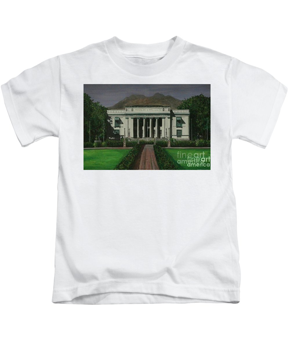 Dumaguete Kids T-Shirt featuring the painting Capitol Building Negros Oriental by Richard John Holden RA