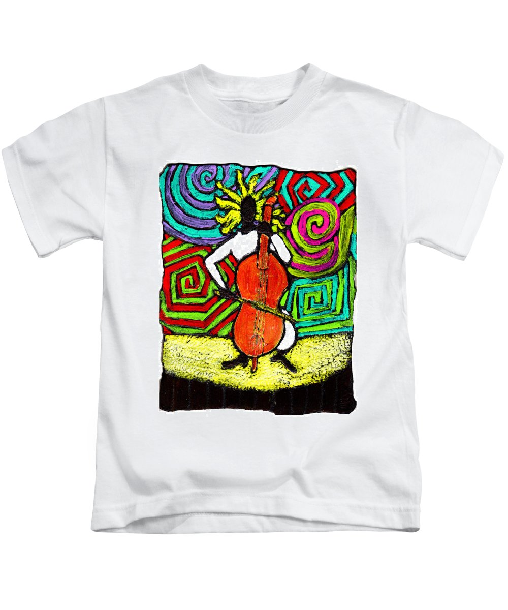 Music Kids T-Shirt featuring the painting Cello Soloist by Wayne Potrafka