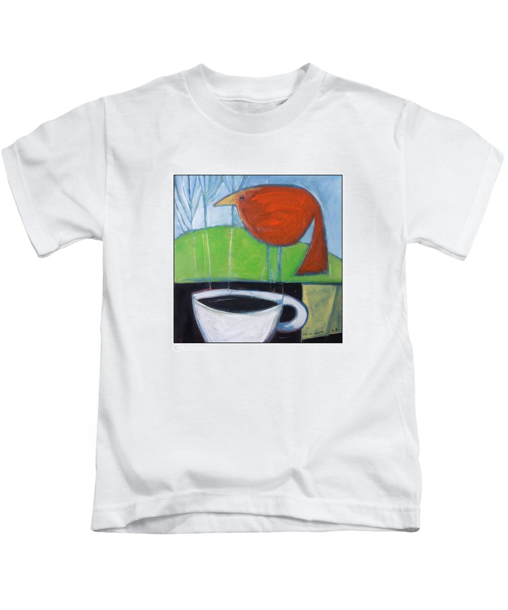 Bird Kids T-Shirt featuring the painting Coffee With Red Bird by Tim Nyberg