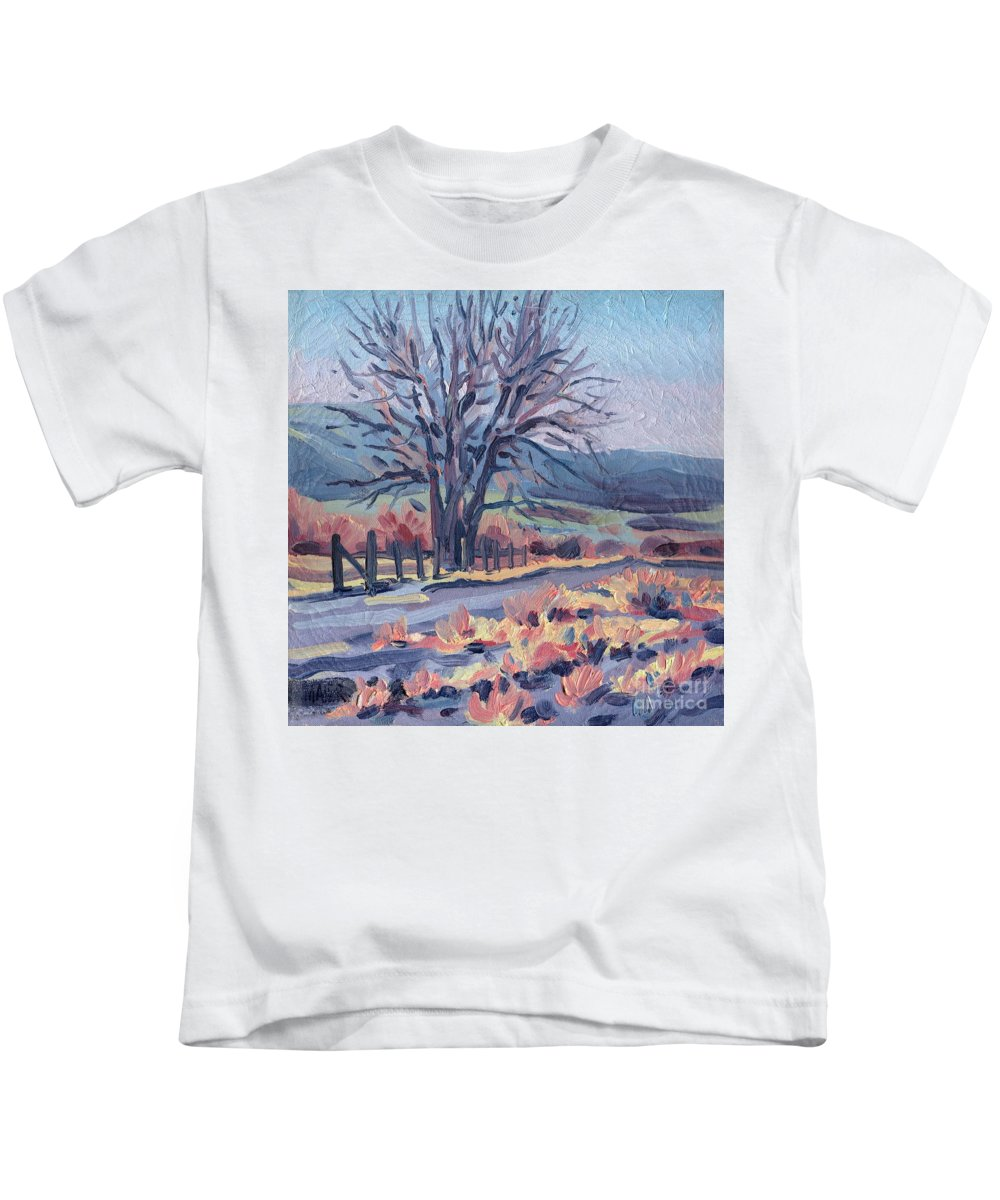 Road Kids T-Shirt featuring the painting Country Road by Donald Maier