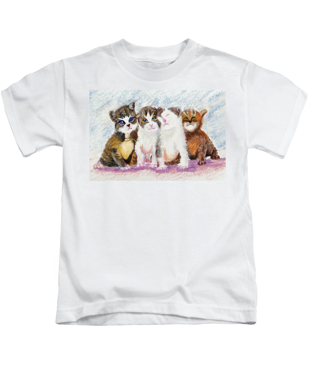 Kittens Kids T-Shirt featuring the painting Cuddle Kitties by Laurie Paci
