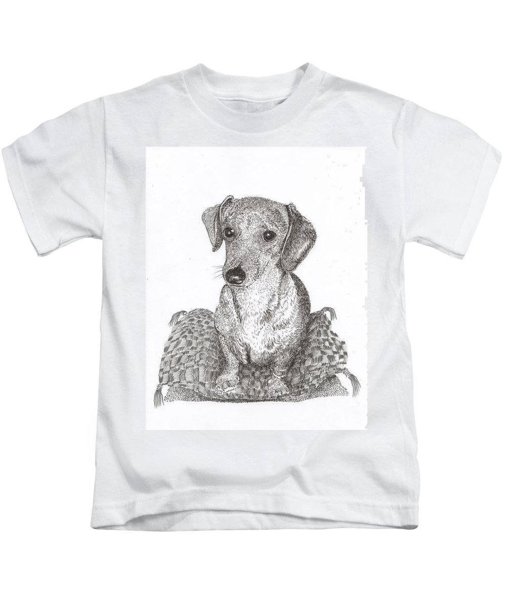 Priced Starting At $ 100.00 To $ 125.00 Kids T-Shirt featuring the drawing Dashound Pricless by Jack Pumphrey