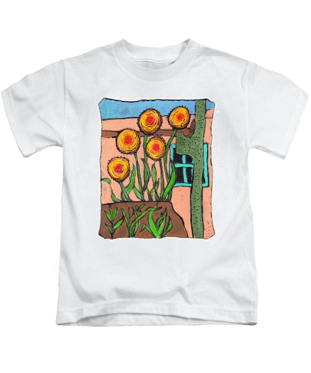 Desert Kids T-Shirt featuring the painting Desert Fantasy by Wayne Potrafka