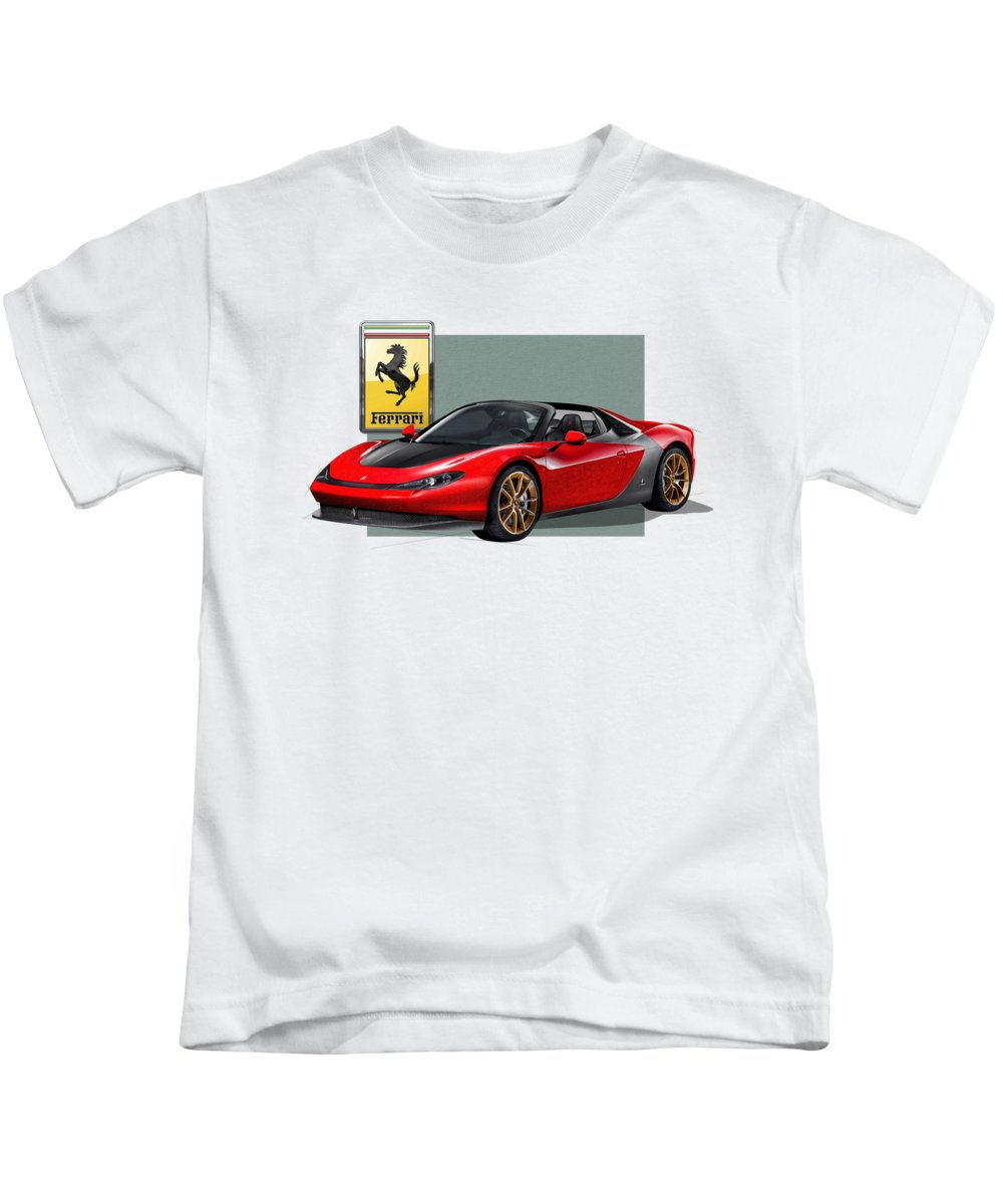 �ferrari� Collection By Serge Averbukh Kids T-Shirt featuring the photograph Ferrari Sergio with 3D Badge by Serge Averbukh