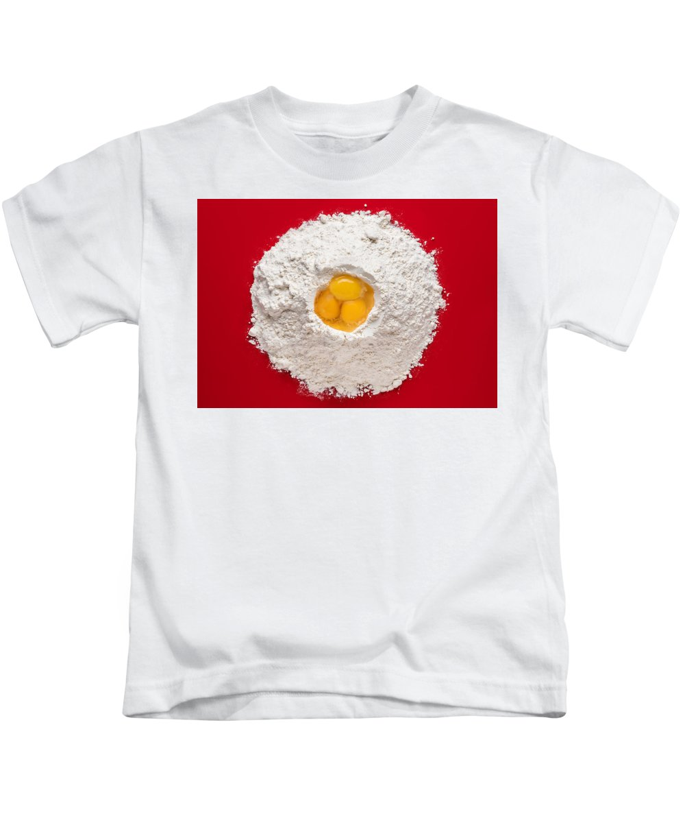 Flour Kids T-Shirt featuring the photograph Flour And Eggs by Steve Gadomski
