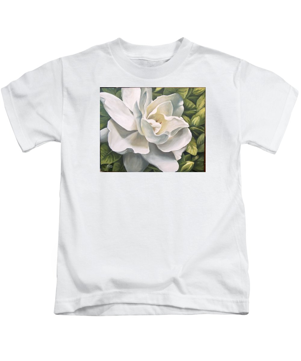 Flower Kids T-Shirt featuring the painting Gardenia by Natalia Tejera