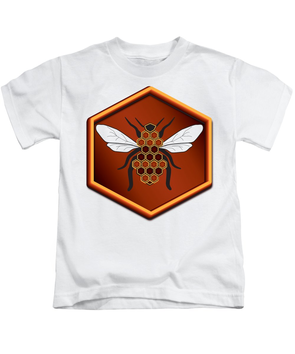 Cartoon Kids T-Shirt featuring the digital art Honeycomb Bee by Pelo Blanco Photo