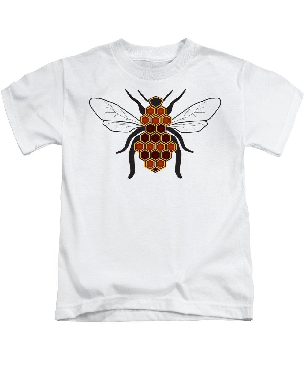 Cartoon Kids T-Shirt featuring the digital art Honeycomb Bee Sans Border by Pelo Blanco Photo