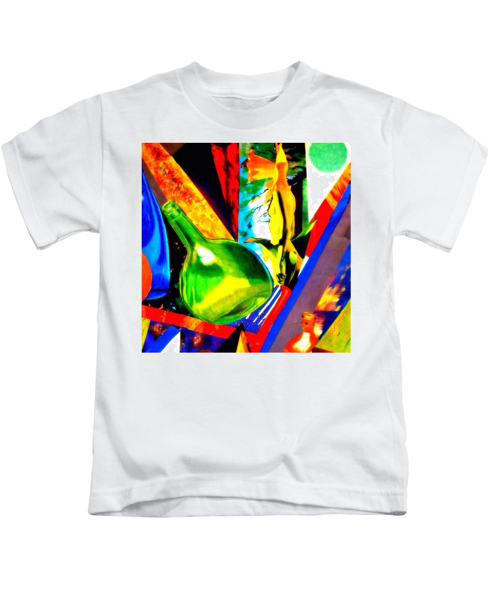 Intersections Abstract Collage Kids T-Shirt featuring the digital art Intersections Abstract Collage by Anna Porter