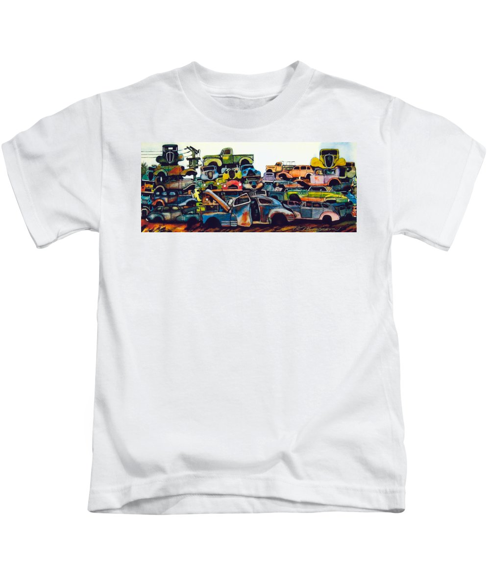 Junkyard Kids T-Shirt featuring the painting Junkyard by Ron Morrison