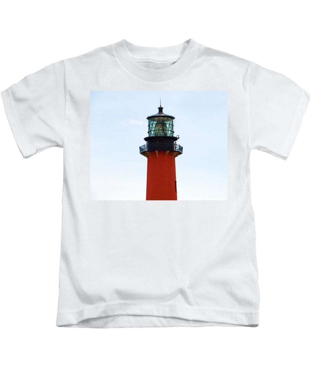 Florida; Juptier; Inlet; Loxahatchee; River; Atlantic; Coast; Shore; Beach; Light; Lighthouse; Beaco Kids T-Shirt featuring the photograph Jupiter Inlet Florida by Allan Hughes