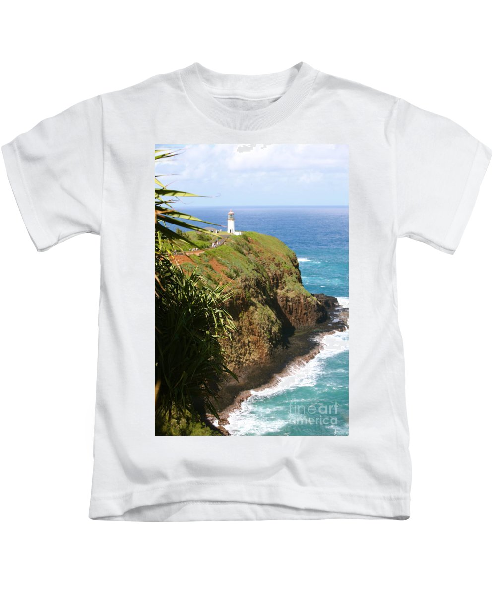 Lighthouse Kids T-Shirt featuring the photograph Kilauea Lighthouse by Nadine Rippelmeyer