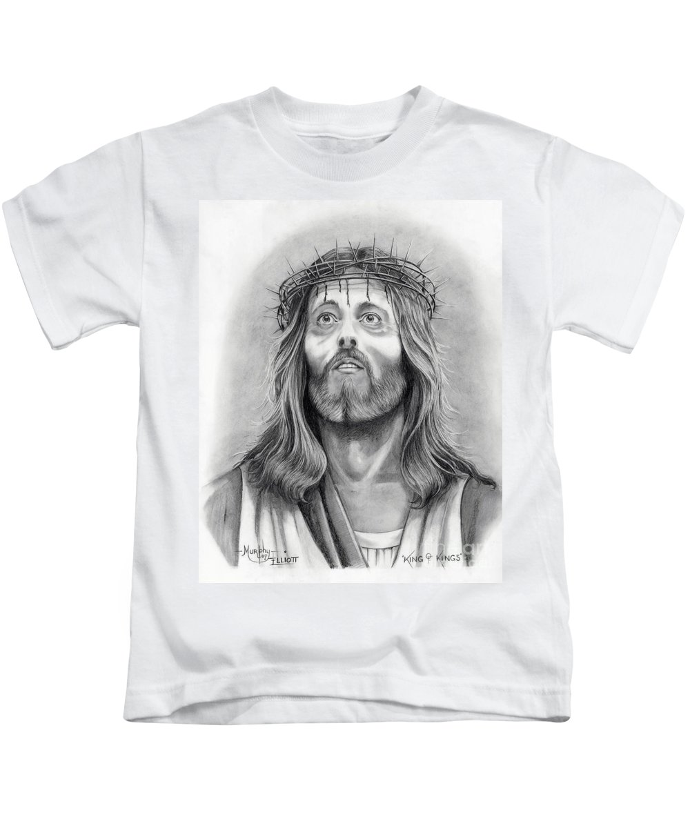 Jesus Christ Kids T-Shirt featuring the drawing King Of Kings by Murphy Elliott