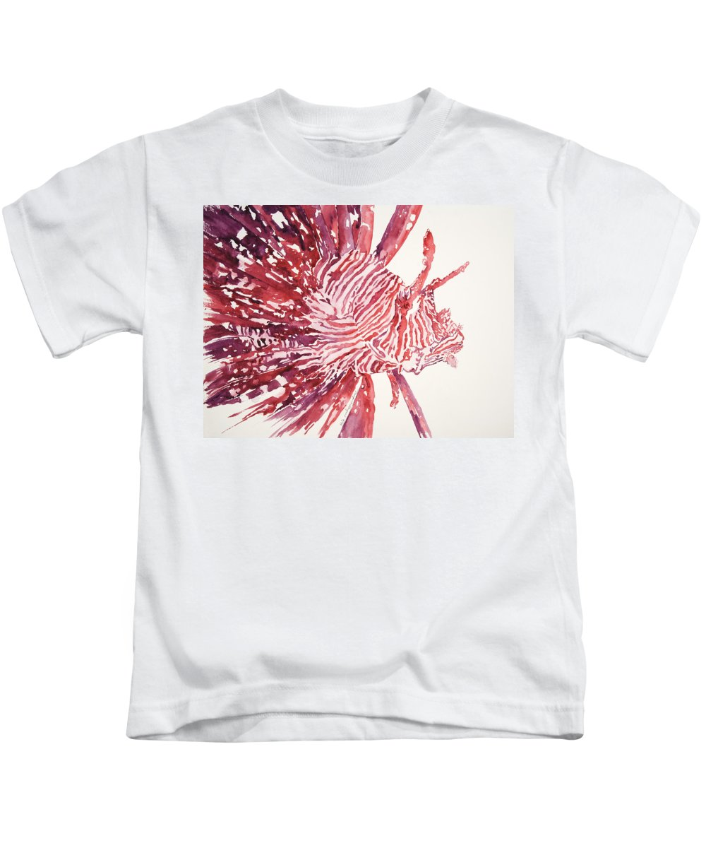 Animal Art Kids T-Shirt featuring the painting Lionfish by Tanya L Haynes - Printscapes