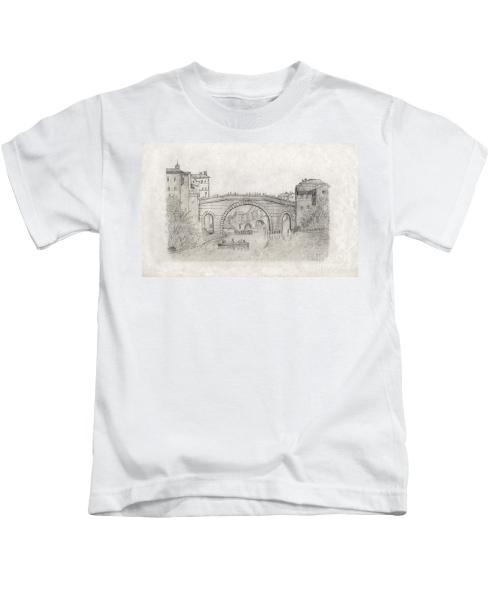 Liverpool Kids T-Shirt featuring the drawing Liverpool Bridge by Donna L Munro