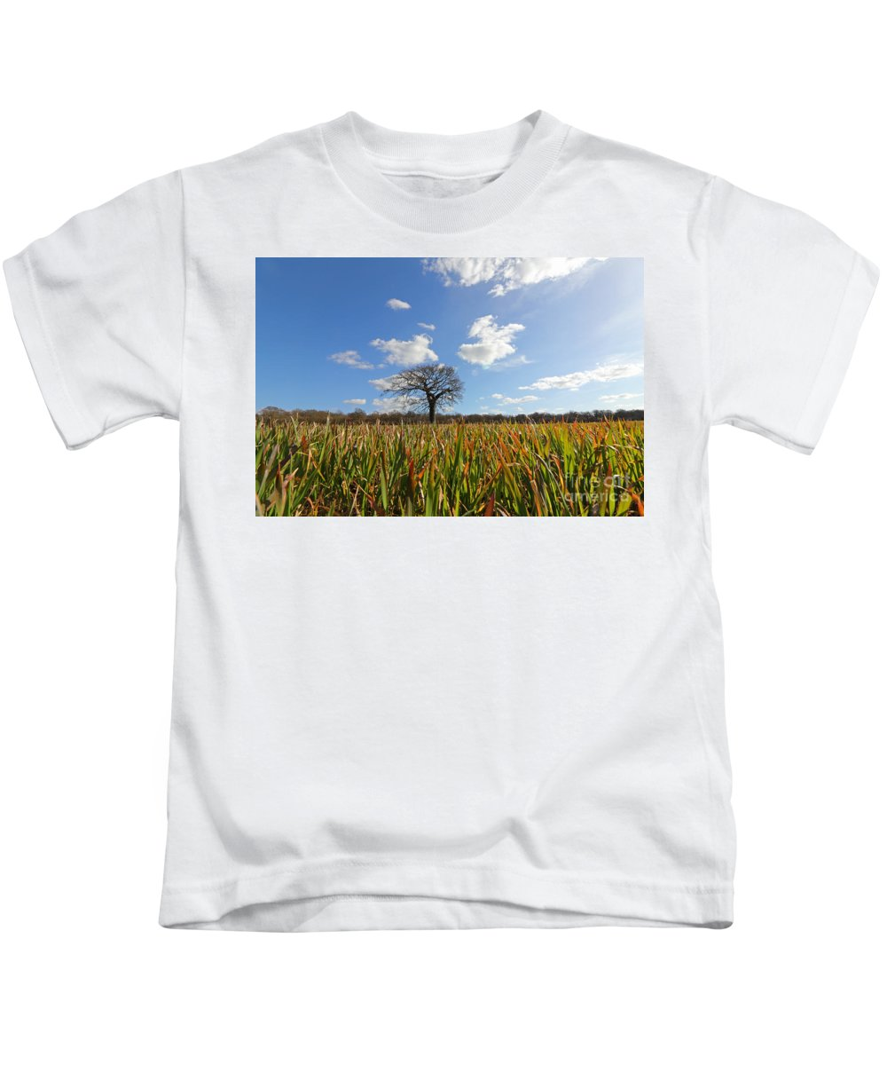 A Lone Oak Tree In A Field Of Wheat Kids T-Shirt featuring the photograph Lone Oak Tree In Wheat Field by Julia Gavin