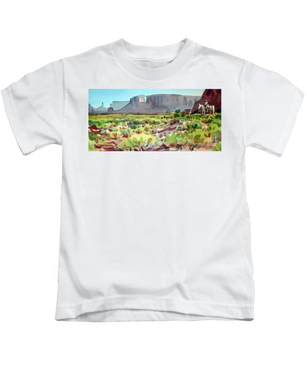 Navajo Kids T-Shirt featuring the painting Lone Rider by Donald Maier
