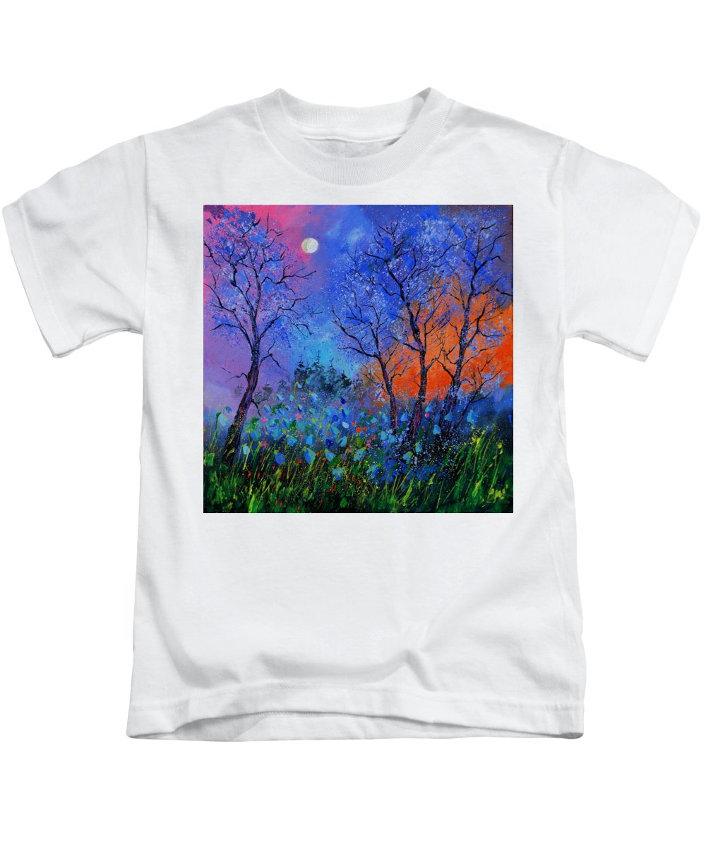 Landscape Kids T-Shirt featuring the painting Magic wood by Pol Ledent