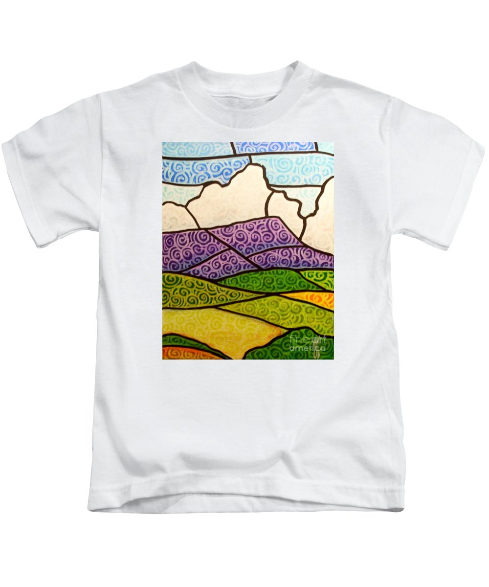 Mountians Kids T-Shirt featuring the painting Massanutten Peak by Jim Harris