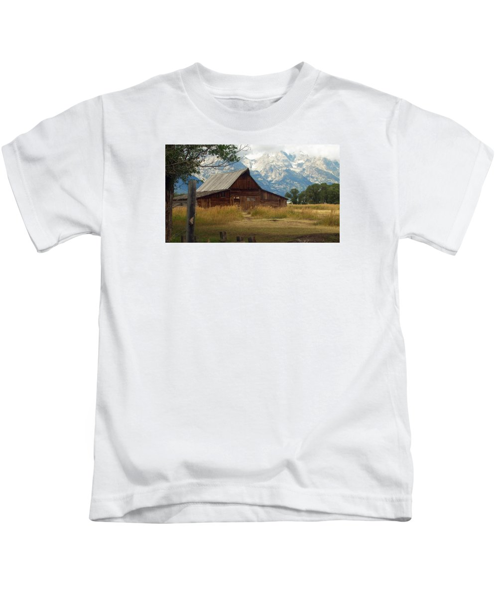 Ann Keisling Kids T-Shirt featuring the photograph Mormon Row Barn by Ann Keisling