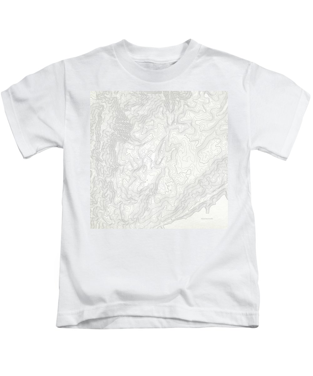 Topo Kids T-Shirt featuring the digital art Mount Kosciuszko Art Print Contour Map Of Mount Kosciuszko In Au by Jurq Studio
