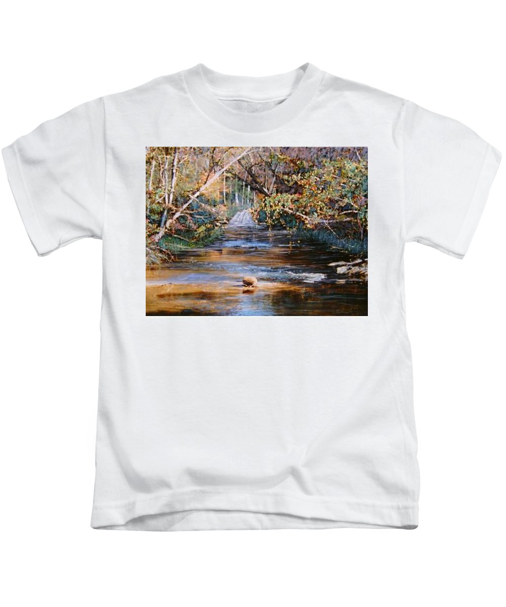 River; Waterfalls Kids T-Shirt featuring the painting My Secret Place by Ben Kiger