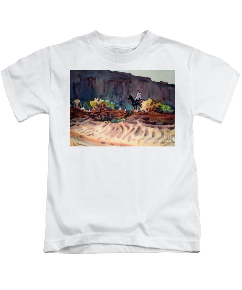 Equestrian Kids T-Shirt featuring the painting Navajo Rider by Donald Maier