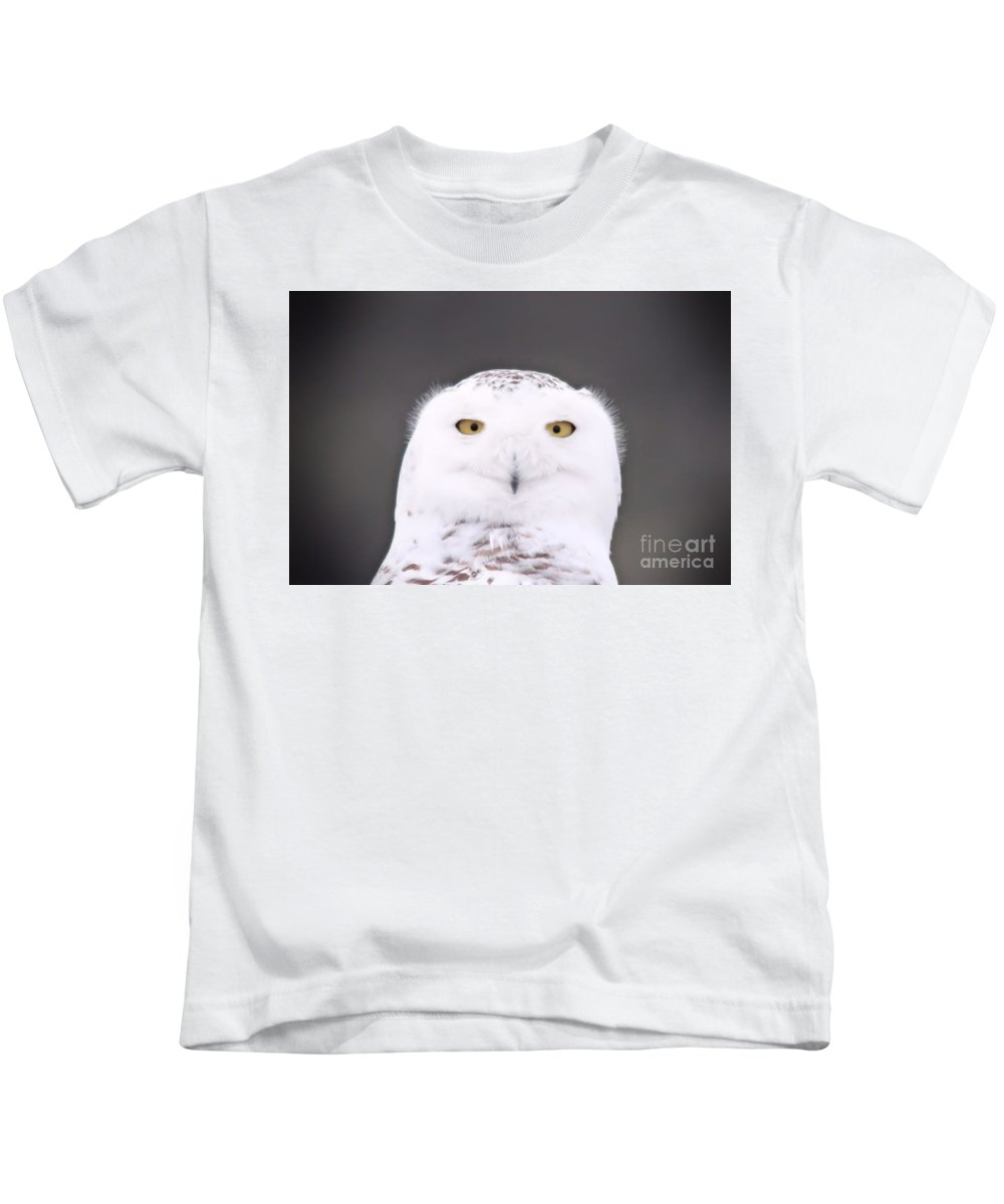 Snowy Owl Kids T-Shirt featuring the photograph Snowy Owl 3256 A.k.a. Smiling Owl by Joseph Marquis