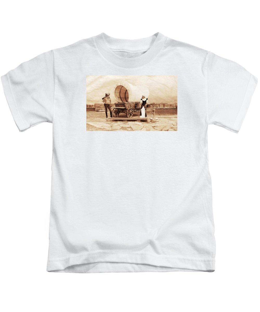 Sepia Kids T-Shirt featuring the photograph Old West Cats by Gravityx9 Designs
