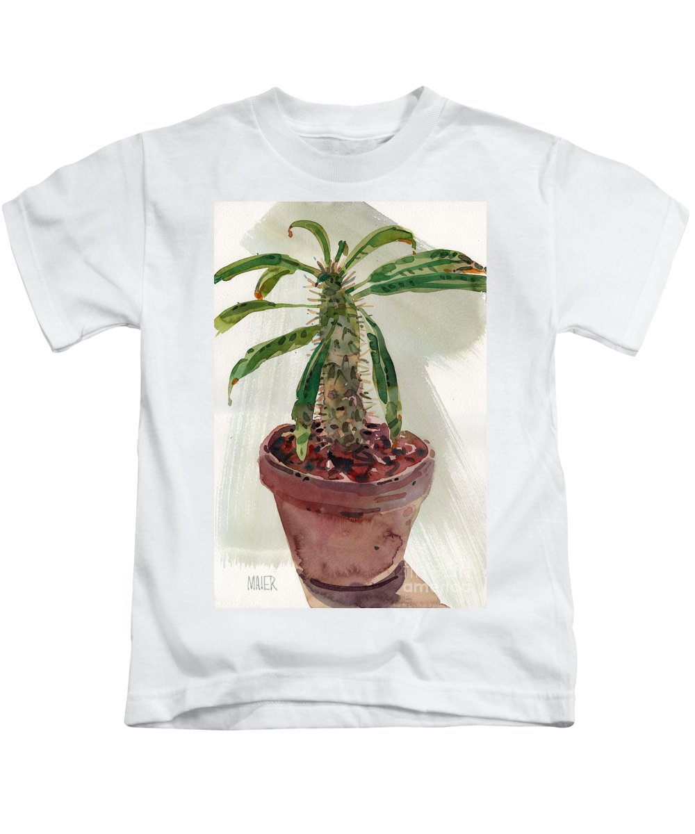 Euphorbia Kids T-Shirt featuring the painting Pachypodium by Donald Maier