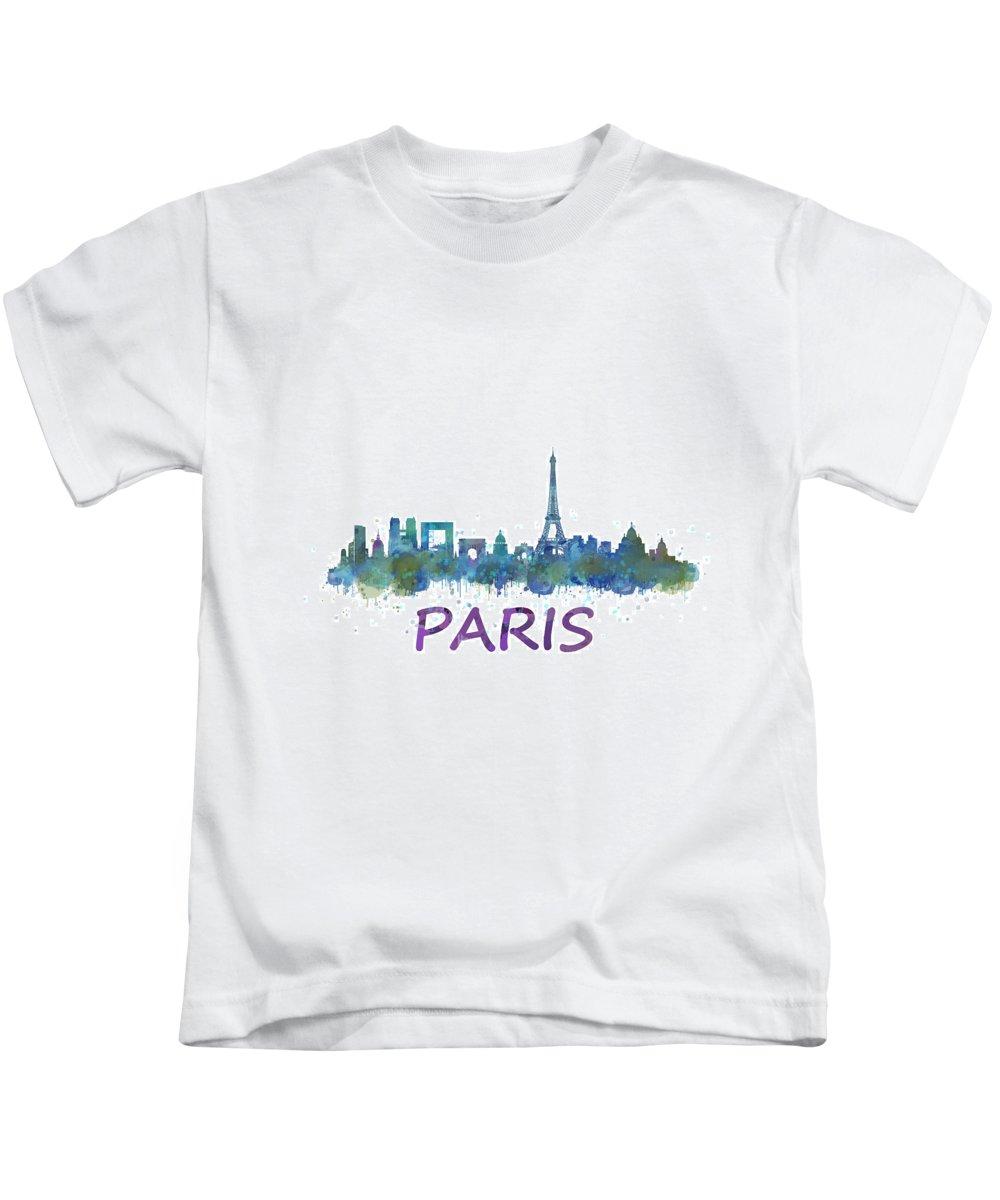Paris Kids T-Shirt featuring the painting Paris City Skyline Hq by HQ Photo
