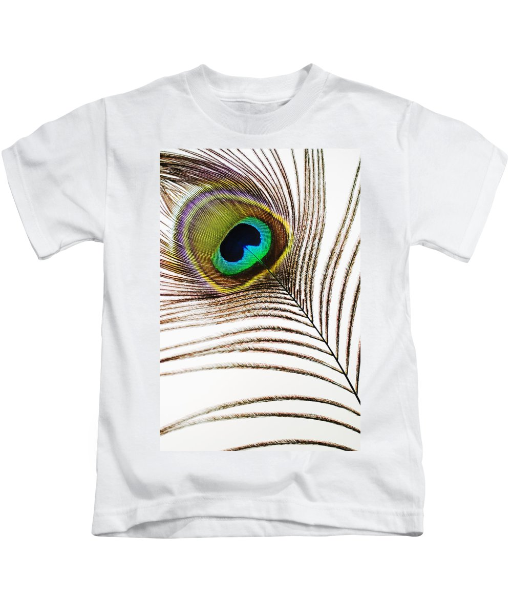 Abstract Kids T-Shirt featuring the photograph Peacock Feathers by Mary Van de Ven - Printscapes