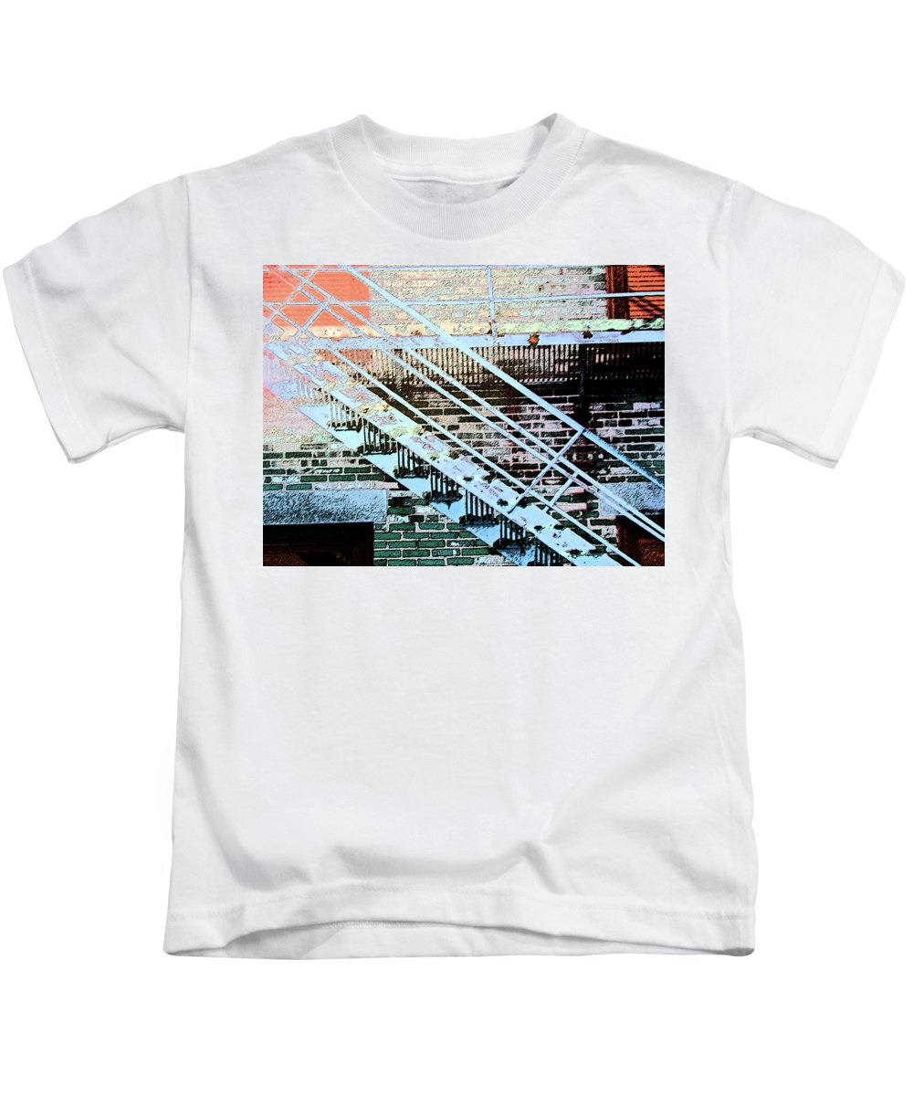Abstract Kids T-Shirt featuring the digital art Pueblo Downtown Fire Escape by Lenore Senior