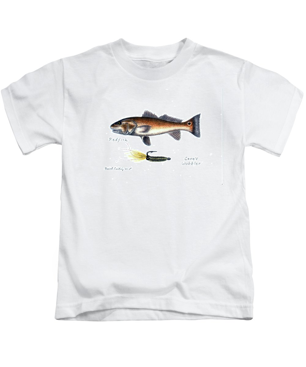 Fish Kids T-Shirt featuring the drawing Redfish And Cave's Wobbler by Daniel Lindvig