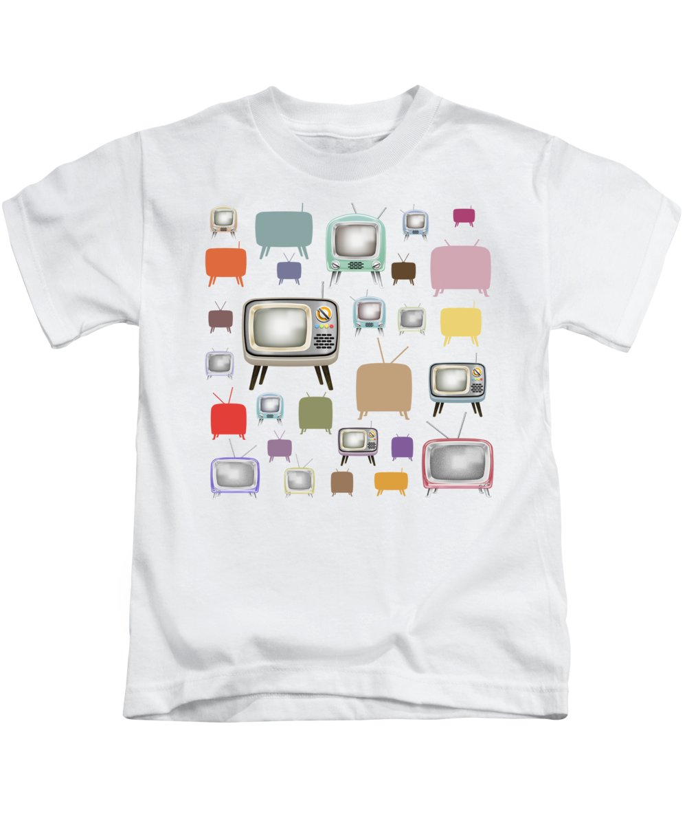 Analog Kids T-Shirt featuring the painting Retro T.v. by Setsiri Silapasuwanchai