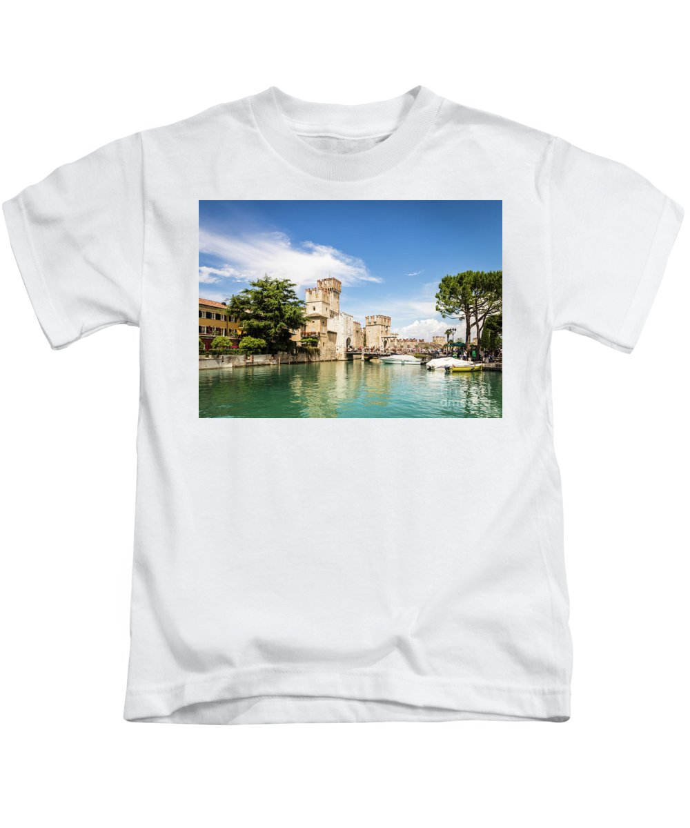 Europe Kids T-Shirt featuring the photograph Scaligero Castle At The Entrence Of The Sirmione Medieval Town by Didier Marti